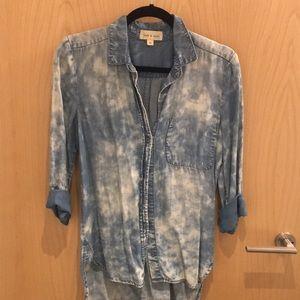 Cloth & Stone Tye Dye Denim Button Down